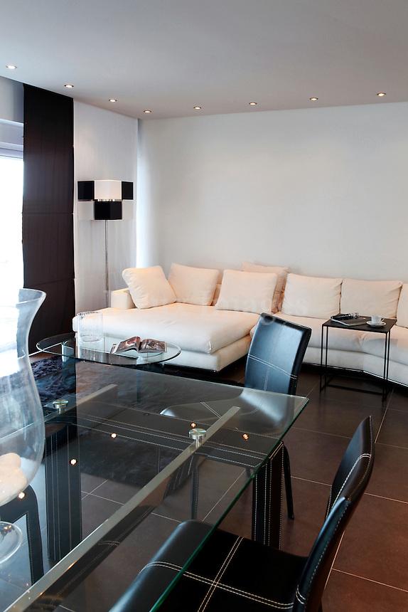 minimal black and white living room