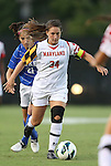 20 September 2012: Maryland's Danielle Hubka (34) and Duke's Gilda Doria (21). The University of Maryland Terrapins played the Duke University Blue Devils to a 2-2 tie after overtime at Koskinen Stadium in Durham, North Carolina in a 2012 NCAA Division I Women's Soccer game.