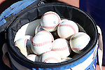 19 February 2017: A bucket of Kentucky's practice baseballs. The University of North Carolina Tar Heels hosted the University of Kentucky Wildcats in a College baseball game at Boshamer Stadium in Chapel Hill, North Carolina. UNC won the game 5-4.