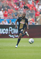 Philadelphia Union forward Danny Mwanga #10 in action during an MLS game between the Philadelphia Union and the Toronto FC at BMO Field in Toronto on May 28, 2011..The Philadelphia Union won 6-2..