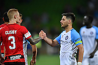 Melbourne, 6 January 2017 - BRUNO FORNAROLI (23) of Melbourne City and JACK CLISBY (3) of the Wanderers shake hands after game in the round 14 match of the A-League between Melbourne City and Western Sydney Wanderers at AAMI Park, Melbourne, Australia. Melbourne won 1-0 (Photo Sydney Low / sydlow.com)