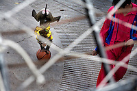 A trained monkey wearing a cape balances on a basketball while being led on a leash by a zookeeper during a performance in the Kunming Zoo in Kunming, Yunnan, China.