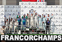Podium of the general race, after 6 hours and 143 laps, Nicolas Minassian-Simon Pagenaud-Christian Klien wins with the Peugeot 908 Hdi FAP #7 LMP1. At the second place, the Pescarolo Judd #16 and in the third place, the Lola Aston Martin #007, Sunday, May 10, 2009, in Spa-Francorchamps, Belgium (Valentin Bianchi/pressphotointl.com)