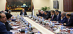 Palestinian Prime Minister Rami Hamdallah chairs a meeting of council of Ministers in the West Bank city of Ramallah, on April 25, 2017. Photo by Prime Minister Office