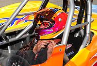May 6, 2012; Commerce, GA, USA: NHRA  super gas driver XXXX celebrates after winning the Southern Nationals at Atlanta Dragway. Mandatory Credit: Mark J. Rebilas-