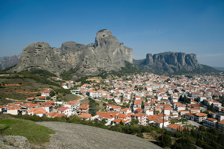 Greece, Meteora, Kalampaka Town in daylight