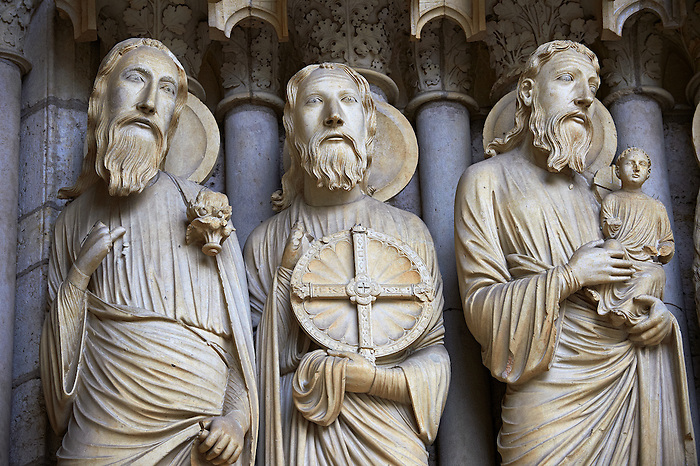 North Porch, Central Portal, right Jambs- General View c. 1194-1230. Cathedral of Chartres, France . Gothic statues of figures of, from left 1) Isaiah 2) Jeremiah 3) Simeon holding the Christ Child. A UNESCO World Heritage Site.
