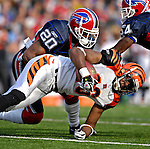 4 November 2007: Cincinnati Bengals wide receiver Glenn Holt (16) is tackled by Buffalo Bills safety Donte Whitner (20) at Ralph Wilson Stadium in Orchard Park, NY. The Bills defeated the Bengals 33-21 in front of a sellout crowd of 70,745...Mandatory Photo Credit: Ed Wolfstein Photo