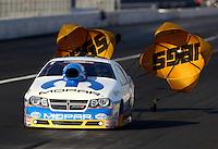 Nov 9, 2013; Pomona, CA, USA; NHRA pro stock driver Allen Johnson during qualifying for the Auto Club Finals at Auto Club Raceway at Pomona. Mandatory Credit: Mark J. Rebilas-