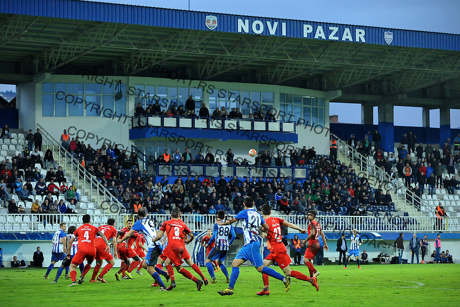 Fudbal Jelen Super League season 2016-2017<br /> Novi Pazar v Napredak (Krusevac)<br /> Atmosfera ispred zapadne tribine<br /> Novi Pazar, 22. 10. 2016<br /> foto: Emir Sadovic/Starsportphoto &copy;
