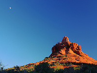 Bell Rock and the Moon at sunset, Sedona, AZ