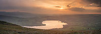 Sunset over Llangorse lake from Mynydd Llangrose, Brecon Beacons national park, Wales