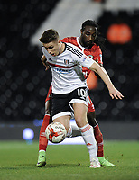 Fulham's Tom Cairney holds off the challenge from Blackburn Rovers' Marvin Emnes<br /> <br /> Photographer /Ashley WesternCameraSport<br /> <br /> The EFL Sky Bet Championship - Fulham v Blackburn Rovers - Tuesday 14th March 2017 - Craven Cottage - London<br /> <br /> World Copyright &copy; 2017 CameraSport. All rights reserved. 43 Linden Ave. Countesthorpe. Leicester. England. LE8 5PG - Tel: +44 (0) 116 277 4147 - admin@camerasport.com - www.camerasport.com