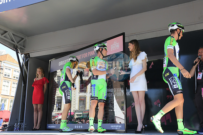 Bardiani CSF team at sign on before the start of Stage 3 of the 2016 Giro d'Italia running 190km from Nijmegen to Arnhem, The Nethrerlands. 8th May 2016.<br /> Picture: Eoin Clarke | Newsfile<br /> <br /> <br /> All photos usage must carry mandatory copyright credit (&copy; Newsfile | Eoin Clarke)