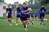 Brett Herron of Bath Rugby in possession. Bath Rugby training session on August 4, 2015 at Farleigh House in Bath, England. Photo by: Patrick Khachfe / Onside Images