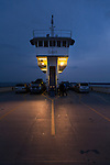 The ferry &quot;Surry&quot; at dusk. The Jamestown-Scotland Ferry across the James River, Virginia is operated by VDOT.