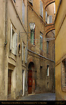 Medieval Street and 13th c. Tower Houses, Via di Stalloreggi, Terzo di Citta District, Siena, Italy