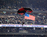 "Members of the Army Special Operations the ""Black Daggers"" parachutes into Yankee Stadium before kick off of the Notre Dame vs. Army football game on Saturday, November 20, 2010. Photo by Errol Anderson"