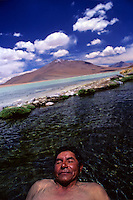 Bolivian enjoys bath at thermal pools in Laguna Polque, southwest Bolivia.