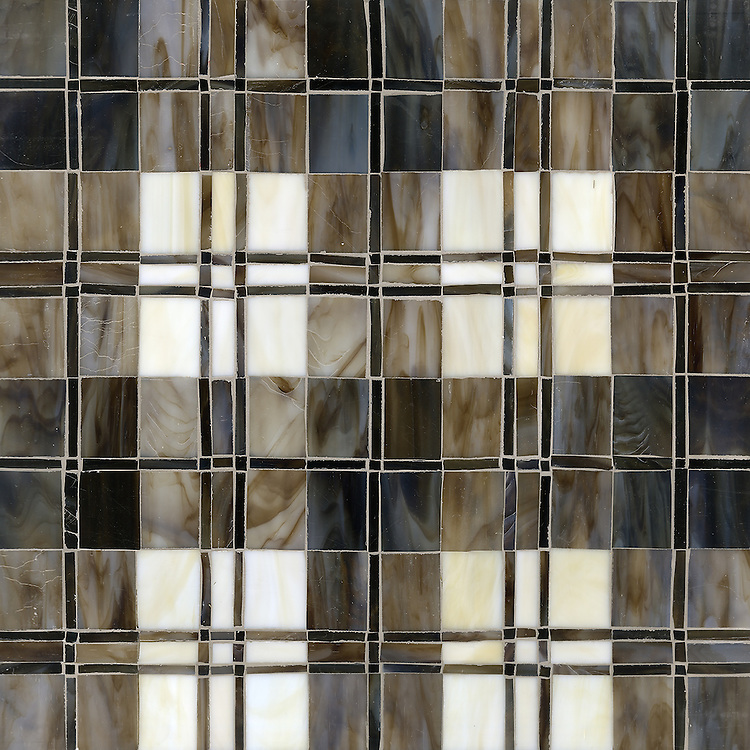 Hamish, a jewel glass mosaic shown in Lavastone, Schist, Quartz, Jasper and Obsidian, is part of the Plaids and Ginghams Collection by New Ravenna Mosaics.