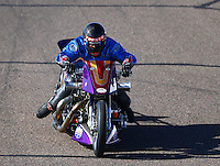 Feb 26, 2016; Chandler, AZ, USA; NHRA top fuel Harley motorcycle rider Jay Turner during qualifying for the Carquest Nationals at Wild Horse Pass Motorsports Park. Mandatory Credit: Mark J. Rebilas-