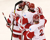 Sean Escobedo (BU - 21), Matt Nieto (BU - 19), Ryan Ruikka (BU - 2) - The Boston University Terriers defeated the visiting Northeastern University Huskies 5-0 on senior night Saturday, March 9, 2013, at Agganis Arena in Boston, Massachusetts.