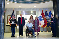 APR 22 US President Donald J. Trump visits wounded soldiers