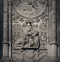 Alabaster relief sculpture, tomb of Alonso Fernandez de Madrigal (1410-55), Bishop of Avila, known as El Tostado, retrochoir, Avila Cathedral, 12th-14th centuries, Avila, Castile and Leon, Spain. Begun, 1095, in Romanesque style with fortifications, the style later switched to Gothic. Picture by Manuel Cohen