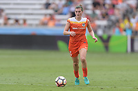 Houston, TX - Saturday April 15, 2017: Cari Roccaro brings the ball up the field  during a regular season National Women's Soccer League (NWSL) match between the Houston Dash and the Chicago Red Stars at BBVA Compass Stadium.