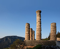DELPHI, GREECE - APRIL 11 : A detail of the East side of the Temple of Apollo at sunrise, on April 11, 2007 in the Sanctuary of Apollo, Delphi, Greece. The ruins of the Temple of Apollo belong to the 4th century BC, the third temple built on the site, still in the Doric order and completed in 330BC. Its architects were the Corinthians Spintharos Xenodoros and Agathon. (Photo by Manuel Cohen)