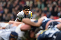 Ben Tapuai of Bath Rugby watches a scrum. Aviva Premiership match, between Sale Sharks and Bath Rugby on May 6, 2017 at the AJ Bell Stadium in Manchester, England. Photo by: Patrick Khachfe / Onside Images