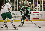 24 October 2015: University of North Dakota Defenseman Gage Ausmus, a Junior from East Grand Forks, MN, in first period action against the University of Vermont Catamounts at Gutterson Fieldhouse in Burlington, Vermont. North Dakota defeated the Catamounts 5-2 in the second game of their weekend series. Mandatory Credit: Ed Wolfstein Photo *** RAW (NEF) Image File Available ***