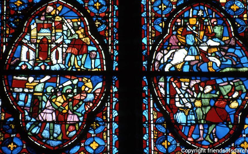 Paris: Sainte-Chapelle. 13th C. stained glass windows. Photo '87.