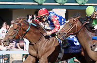 LEXINGTON, KY - April 15, 2017.  #3 Senior Investment and jockey CHanning Hill win the 36th running of The Stonestreet Lexington Grade 3 $200,000 for owner Fern Circle Stables and trainer Kenneth McPeek at Keeneland Race Course.  Lexington, Kentucky. (Photo by Candice Chavez/Eclipse Sportswire/Getty Images)