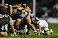 Leroy Houston of Bath Rugby looks on at a scrum. Aviva Premiership match, between Harlequins and Bath Rugby on March 11, 2016 at the Twickenham Stoop in London, England. Photo by: Patrick Khachfe / Onside Images