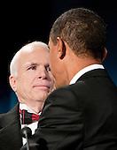 Washington, DC - January 19, 2009 -- United States President-elect Barack Obama shakes hands with United States Senator John McCain (Republican of Arizona), the Republican presidential nominee, at a bi-partisan dinner honoring McCain in Washington, D.C., U.S., Monday, January 19, 2009.   .Credit: Joshua Roberts - Pool via CNP
