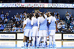 16 November 2014: UNC players huddle before the game. The University of North Carolina Tar Heels hosted the University of California Los Angeles Bruins at Carmichael Arena in Chapel Hill, North Carolina in a 2014-15 NCAA Division I Women's Basketball game. UNC won the game 84-68.