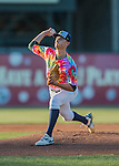29 July 2016: Vermont Lake Monsters pitcher Heath Bowers sports a colorful uniform celebrating Ben & Jerry's Summer of Love Day as he pitches to the Brooklyn Cyclones at Centennial Field in Burlington, Vermont. The Lake Monsters fell to the Cyclones 8-5 in NY Penn League action. Mandatory Credit: Ed Wolfstein Photo *** RAW (NEF) Image File Available ***