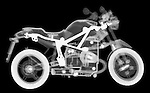 X-ray image of a toy motorcycle (white on black) by Jim Wehtje, specialist in x-ray art and design images.