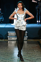 "Model walks runway in an outfit from the ""Skeleton"" collection by Ema Klein, from the Academy of Fine Arts and Design in Bratislava, during Slovak Fashion Night 2012 in New York City May 11, 2012."