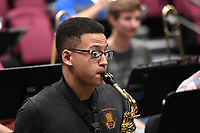 NWA Democrat-Gazette/J.T. WAMPLER Andrew Sweet of Rogerts plays saxophone for the All-Star Jazz Ensemble, a group of high school musicians who are being trained by local jazz professionals Sunday April 9, 2017 at the Walton Arts Center in Fayetteville.
