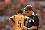 Torquay United 2 Cambridge United 0, 17/05/2009. Wembley Stadium, Conference Play Off Final. Phil Bolland (Cambridge) is shown a second yellow card by referee Gary Sutton and Torquay United returned to the Football League after two years away. Photo by Simon Gill