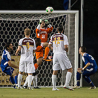 Winthrop University Eagles vs the Brevard College Tornados at Eagle's Field in Rock Hill, SC.  The Eagles beat the Tornados 6-0.  Guilherme Avelar (31) makes a save.