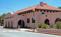 Mission RR Stations: Modesto, Restored Santa Fe Station with Southern Pacific still emblazoned. Now center of the block long Modesto Transportation Center.  Photo 2000.