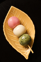 Dango Mochi is a Japanese rice cake made of glutinous rice pounded into paste and then molded into shape. Many types of traditional wagashi and mochigashi or Japanese traditional sweets are made with mochi. For example, daifuku is a soft round mochi stuffed with sweet filling such as bean paste.