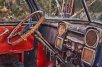 Abandoned Chevrolet Truck Interior Dash - Eldorado Canyon - Nelson NV - HDR