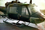 Circles mark the bullet holes in a 101st Airborne division UH-1 Huey during the Vietnam War. This images is from the collection of J.W. Womble of the 610th Transportation Company during the Vietnam War.