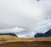 Rugged mountain landscape near Sälka, Kungsleden trail, Lapland, Sweden