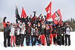 FRANCONIA, NH - MARCH 11:   Athletes and coaches of the University of Utah celebrate their team's NCAA National Championship at the Division I Men's and Women's Skiing Championships held at Jackson Ski Touring on March 11, 2017 in Jackson, New Hampshire. (Photo by Gil Talbot/NCAA Photos via Getty Images)