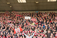 Lincoln City fans celebrate promotion<br /> <br /> Photographer Andrew Vaughan/CameraSport<br /> <br /> Vanarama National League - Lincoln City v Macclesfield Town - Saturday 22nd April 2017 - Sincil Bank - Lincoln<br /> <br /> World Copyright &copy; 2017 CameraSport. All rights reserved. 43 Linden Ave. Countesthorpe. Leicester. England. LE8 5PG - Tel: +44 (0) 116 277 4147 - admin@camerasport.com - www.camerasport.com